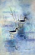 Wading Bird Prints - Misty Swamp Print by Arline Wagner