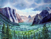 El Capitan Painting Prints - Misty Yosemite Valley Print by Laura Iverson