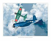 Military Poster Framed Prints - Mitsubishi Zero and Vought F4-U Corsair Framed Print by Larry McManus