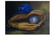 Baseball Game Painting Framed Prints - Mitt and Ball Framed Print by Tom Forgione