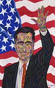 Barrack Obama Pastels Posters - Mitt Romney 2012 Poster by Robert  SORENSEN