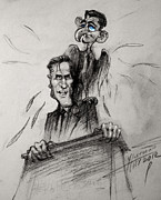 Presidential Drawings Posters - Mitt Romney and his Flying Mate Poster by Ylli Haruni