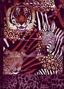 Kingdom Mixed Media Prints - Mixed Bag of Animals Print by Anne-Elizabeth Whiteway