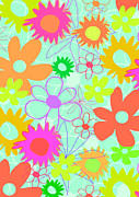Motif Digital Art Prints - Mixed Flowers Print by Louisa Knight