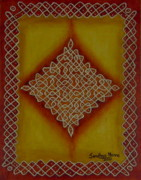 Board Mixed Media Originals - Mixed Media Kolam Four by Sandhya Manne