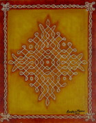 Board Mixed Media Originals - Mixed Media Kolam One by Sandhya Manne