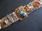Metal Jewelry - Mixed-metal link bracelet by Marilyn Bohanan