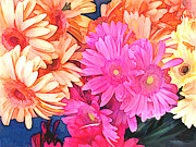 Gerbera Daisy Paintings - Mixed Pink and Yellow Gerber Daisies by Elaine Plesser
