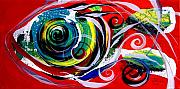Swirl Originals - Mixed-up Cod on Red by J Vincent Scarpace
