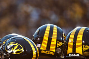 Football Art Posters - Mizzou Football Helmet Poster by Replay Photos