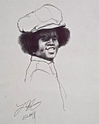Michael Drawings Posters - MJ The Early Years Poster by Wade Hampton