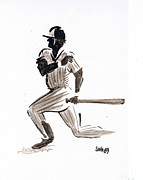 Mlb Drawings - MLB Base Hit by Seth Weaver