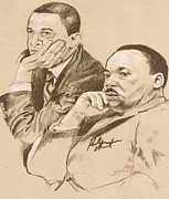 United States Pastels Posters - MLK JR and Obama Poster by Reuben Cheatem