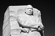 Martin Luther Photos - MLK Memorial - black and white by Brendan Reals