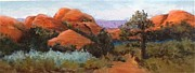 Moab Painting Prints - Moab Red Rocks Print by Rosemary Juskevich