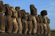 Moai Prints - Moai Along The Coast Of Easter Island Print by Stephen Alvarez