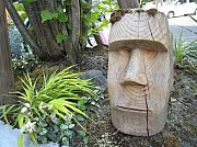 Carving Sculptures - Moai Garden Sculpture by Braven Smillie