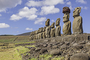 Moai Framed Prints - Moai Statues At Ahu Tongariki, Easter Island Framed Print by David Madison