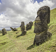 Moai Framed Prints - Moai Statues At Rano Raraku, The Moai Quarry Framed Print by David Madison