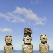Moai Framed Prints - Moai Statues Of Ahu Tongariki, Easter Island Framed Print by David Madison