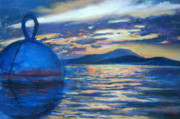 Island Art Pastels Prints - Moaring Ball Overlooking St. John Print by Billie Colson