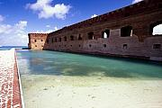 Dry Tortugas Prints - Moat of a Brick Fort Fort Jefferson Print by George Oze