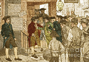 Colonial Man Framed Prints - Mob Confronting Stamp Officer Framed Print by Photo Researchers