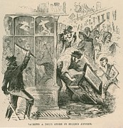 Drug Stores Prints - Mob Looting Of A Drug Store On Second Print by Everett