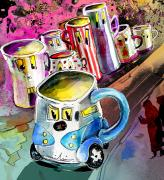 Humour Drawings Prints - Mobile Mug Print by Miki De Goodaboom