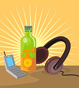 Citrus Digital Art Prints - Mobile Phone Soda Drink Headphone Retro Print by Aloysius Patrimonio