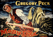 1950s Movies Posters - Moby Dick, Gregory Peck, 1956 Poster by Everett