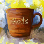 Coffee Painting Framed Prints - Mocha Coffee Cup Framed Print by Jai Johnson