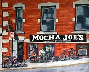 Bicycles Paintings - Mocha Joes by Linda Marcille