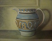 Pottery Pitcher Originals - Mocha pitcher on mantle by Mark Haley