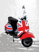White Blue Prints - Mod Scooter Pop Art Print by Michael Tompsett