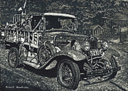 Tires Drawings Posters - Model A Ford Poster by Robert Goudreau