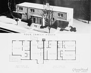 Public Administration Prints - Model Of A Four-family House Of A New Print by Everett