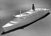 Queen Elizabeth Ii Metal Prints - Model Of The Qe2 Ocean Liner, 1964 Metal Print by National Physical Laboratory (c) Crown Copyright