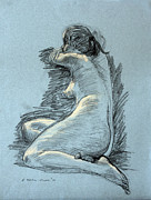 Seated Nude Drawing Prints - Model Resting Print by Ethel Vrana
