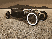 T Bucket Hot Rod Posters - Model T on the Bonneville Salt Poster by Tim Woods
