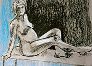 Figure Drawing Pastels Prints - Model With Child Print by Joanne Claxton
