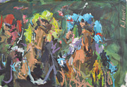 Horse Racing Paintings - Modern Abstract Horse Racing Artwork by Robert Joyner
