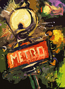 Old Signs Paintings - Modern Abstract Metro Paris Lamp and Sign by Ginette Fine Art LLC Ginette Callaway