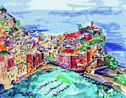 Painted Mixed Media - Modern Abstract Vernazza Italy Cinque Terre by Ginette Fine Art LLC Ginette Callaway