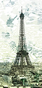 Yellow Digital Art - Modern-Art EIFFEL TOWER 12 by Melanie Viola