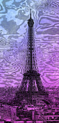 Painted Digital Art Prints - Modern-Art EIFFEL TOWER 14 Print by Melanie Viola