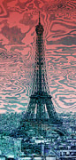 Cyan Digital Art Prints - Modern-Art EIFFEL TOWER 17 Print by Melanie Viola