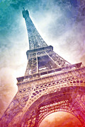 Cyan Digital Art Prints - Modern-Art EIFFEL TOWER 21 Print by Melanie Viola