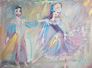 Ballet Dancers Paintings - Modern Ballet Duet by Judith Desrosiers