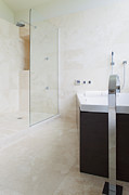 Faucet Posters - Modern Bathroom Interior Poster by Inti St. Clair